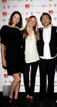 Caitriona Balfe, Sara Ziff and Andrea Galante at the MIFF Awards party night in Italy.