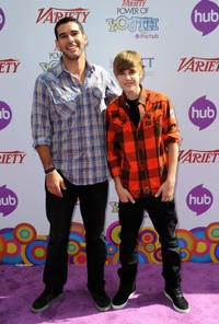Scooter Braun and singer Justin Bieber at the Variety's 4th Annual Power of Youth event in California.