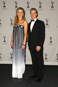 Michaela McManus and Linus Roache at the press room of 36th Annual International Emmy Awards.