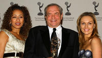 Tamara Tunie, Dick Wolf, Michaela McManus at the press room of 36th Annual International Emmy Awards.