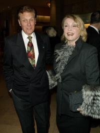 Robert Stack and his wife at the Hollywood Womens Press Club 61st Annual Golden Apple Awards Luncheon.