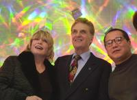 Robert Stack, Hiro Yamagata and guest at the reception for the opening of artist Hiro Yamagatas