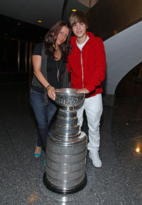 Pattie Mallette and Singer Justin Bieber at the NBC's TODAY Show for Stanley Cup in New York.