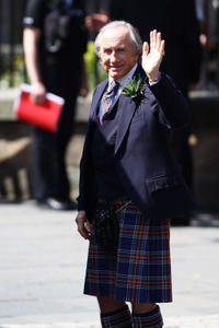 Jackie Stewart at the Royal wedding of Zara Phillips and Mike Tindall in Scotland.