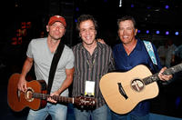 Musician Kenny Chesney, producer Richard 'RAC' Clark and George Strait at the rehearsals of the 43rd Academy of Country Music Awards in Nevada.