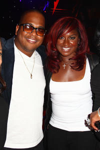 Tricky Stewart and Ester Dean at the Tricky Stewart and RedZone Entertainment Pre-GRAMMY Party in California.