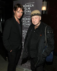 Benn Northover and Jonas Mekas at the premiere of