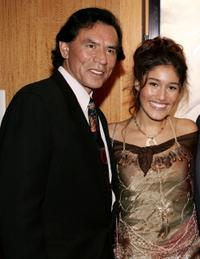 Wes Studi and Q'Orianka Kilcher at the premiere of