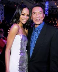 Zoe Saldana and Wes Studi at the after party of the premiere of