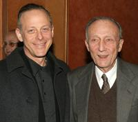 Mark Blum and Tom Aldredge at the curtain call for the Roundabout Theatre Company's Broadway premiere of