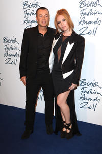 Julien Macdonald and Josephine de la Baume at the British Fashion Awards 2011 in London.