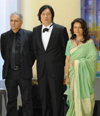 Hanif Kureishi, Lee Chang-Dong and Sharmila Tagore at the Opening Ceremony during the 62nd International Cannes Film Festival.
