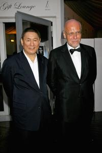 Beat Takeshi Kitano and Venice Film Festival director Marco Muller at the Jaeger Le-Coultre award party of the 64th Annual Venice Film Festival.