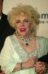 Elizabeth Taylor at the 56th International Cannes Film Festival for the AmfAR Charity Event.