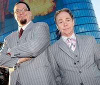 Penn Jillette and Teller at the Rio Hotel & Casino to celebrate the duo's 35 years performing together.