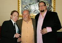 Teller, Robin Leach and Penn Jillette at the reception celebrating the duo's five years of performances.