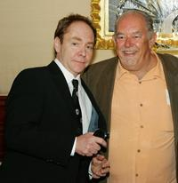 Teller and Robin Leach at the reception celebrating the duo's five years of performances.