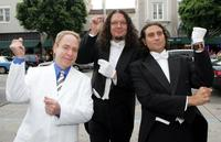Teller, Penn Jillette and director Paul Provenza at the Los Angeles premiere of