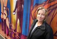 Emma Thompson at the art installation entitled