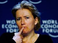 Emma Thompson at the World Economic Forum receives a crystal award.