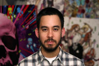 Composer Mike Shinoda on the set of