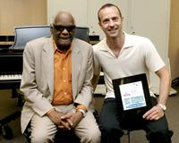 Ray Charles and Brian Boitano at the press conference announcing the Ray Charles On Ice television special.
