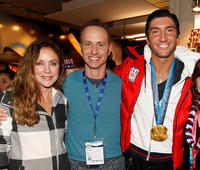 Peggy Fleming, Brian Boitano and Skater Evan Lysacek at the USA House during the US Olympians.