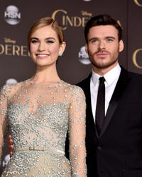 Lily James and Richard Madden at the California premiere of