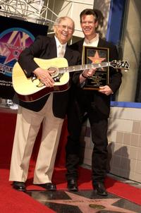 Johnny Grant and Randy Travis at the Hollywood Walk of Fame.