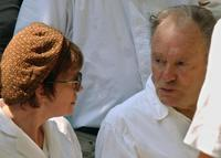 Jean-Louis Trintignant and director Nadine Trintignant at the funeral of their daughter a the Pere Lachaise cemetery.