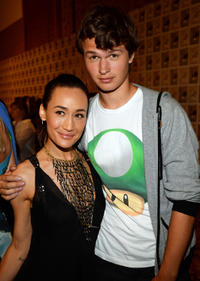 Maggie Q and Ansel Elgort at the press line of