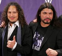 Kirk Hammett and Robert Trujillo at the 21st Annual Rock And Roll Hall Of Fame Induction Ceremony.