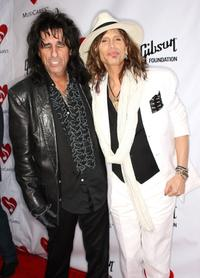 Alice Cooper and Steven Tyler at the fourth Annual MusiCares Benefit Concert.