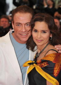 Jean-Claude Van Damme and Gladys Portugues at the premiere of