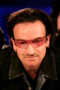 Bono talks at the Nordoff-Robbins Silver Clef Awards.