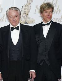 Robert Vaughn and Jack Wagner at the Gold Nymph awards ceremony during the 44th Monte-Carlo Television Festival.