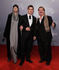Veruschka, Clemens Schick and Juergen Tarrach at the German premiere of