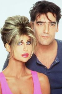 Ken Wahl And Model Shane Barbi pose in Los Angeles.