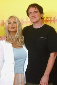 Barbara Bouchet and Quentin Tarantino at the 62nd Venice Film Festival photocall for