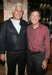 Larry Flax and Barry Williams at the California Pizza Kitchen grand opening preview party.