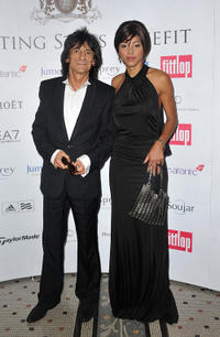 Ronnie Wood and Ana Araujo at the FitFlop Shooting Stars Benefit Closing Ball following a two-day golf tournament raising vital funds for Make-A-Wish Foundation UK.