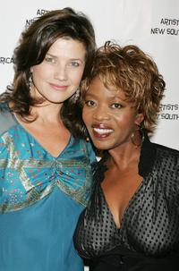 Alfre Woodard and Daphne Zuniga at Archbishop Desmond Tutus 75 birthday gala fundraiser.