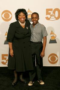 Carol Woods and Timothy Mitchum at the 50th Annual Grammy Awards.