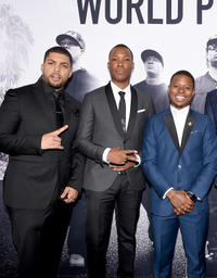 O'Shea Jackson Jr., Corey Hawkins and Jason Mitchell at the California premiere of