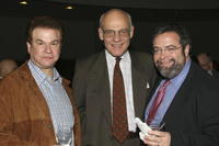 Robert Wuhl, Guest and Drew Neiporent at the release of the hotly anticipated Michelin Guide to New York City.