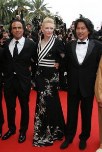 Alejandro Gonzalez Inarritu, Cate Blanchett and Koji Yakusho at the premiere of