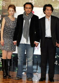 Rinko Kikuchi, Director Alejandro Gonzalez Inarritu and Koji Yakusho at the promotion of