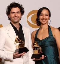 Dweezil Zappa and Moon Zappa at the 51st Annual Grammy Awards.