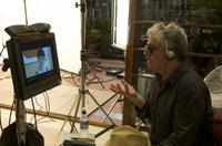 Director Pedro Almodovar on the set of