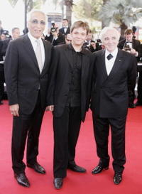 Gerard Darmon, Damien Jouillerot and Charles Aznavour at the screening of